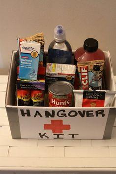 Hangover Kit. Neat 21st birthday gift idea. #diyprojects, #hangover, #hangoverkit, #gift, #giftbasket