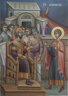 Ο Άγιος Γεώργιος κρινόμενος / The trial of Saint George Church Interior, Byzantine Icons, Saint George, Orthodox Icons, God Is Good, Fresco, Christ, Saints, Religion
