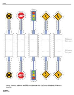 Road signs to use with 3D car and road..for Kindermusik Away We Go