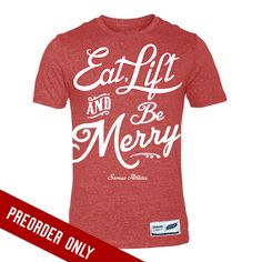 Image of Eat, Lift and Be Merry - Red Triblend Tee Samson Athletics Christmas tee WOD CrossFit