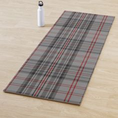 Shop Balmoral Gray Tartan Yoga Mat created by YoGaOutlet. Yoga Gifts, Red And Black Plaid, Yoga Session, Monogram Letters, Tartan, Print Design, Gender, Lettering, Grey