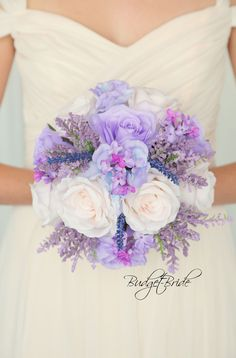 Davids Bridal Iris lavender and capri ice blue wildflower bouquet with blush pink roses