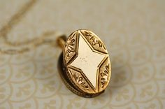 Antique Star Locket Necklace Victorian Gold Filled by FreshyFig, $149.00