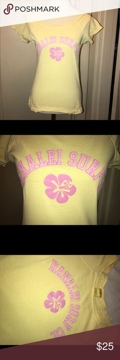 Vintage Hanalei Surf Co. t-shirt! Hard to Find! Super cute vintage t-shirt bought at Hanalei Surf Co. more than 20 years ago! Bright colors - yellow with pink letters! 100% Cotton! Disclosure!- small spot on front by bottom hem. Tops Tees - Short Sleeve