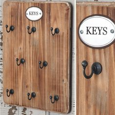 Farmhouse Key Hook Board - Every farmhouse needs a sweet, simple place for keys. What could be lovelier than this wood-backed key hook board?Farmhouse Key Hook Board measures x Wall Mounted Key Holder, Wall Key Holder, Key Holders, Diy Pallet Projects, Wood Projects, Pallet Dyi, Key Organizer, Key Rack, Rack Design