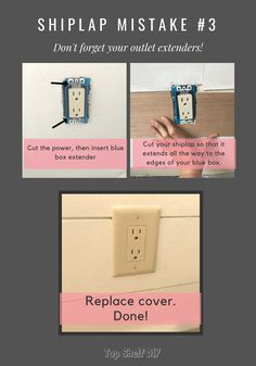 10 Mistakes to Avoid When Installing Faux Shiplap - Top Shelf DIY - DIY home improvement: make sure to grab outlet extenders. Outlet Extender, Installing Shiplap, Faux Shiplap, Shiplap Diy, Diy Home Repair, Wall Outlets, Home Repairs, Ship Lap Walls, Home Improvement Projects