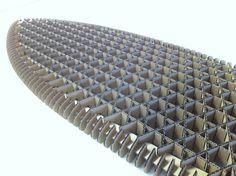 responsive design blog: Quarter Iso Grid Cardboard Surfboard Study