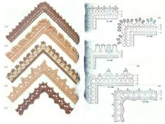 edgings with corners (those pesky corners can be troublesome) Crochet Trim, Knit Crochet, Crochet Edgings, Crochet Border Patterns, Lace Tape, Rubrics, Knitting, Crafts, Zoom Zoom