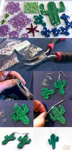 Crochet cactus jewellery jewelry earrings necklace DIY process and blocking