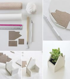 How to Make Little House Clay Pots - DIY & Crafts - Handimania ( I really want to make these for my growing flower collection ) Pots D'argile, Clay Pots, Clay Houses, Ceramic Houses, Clay Pot Crafts, Diy Clay, Ideas Paso A Paso, Diy Cadeau, Deco Nature