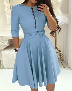 Load image into Gallery viewer, Women Fall Half Sleeve Elegant Tunic Party Dress Female O Neck Solid Zipper Belted Pleated Casual Office Dress Vestidos mujer - MACchar Company Beautiful Casual Dresses, Simple Dresses, Elegant Dresses, Formal Dresses, Work Dresses For Women, Trend Fashion, Mini Dress With Sleeves, Maxi Dress With Slit, Skater Dress