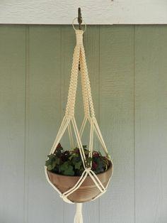 54 Inch 6MM Flesh Macrame Plant Hanger/Indoor Plant Holder/Hanging Planter/Flower Pot Hanger/Summer Garden Decor/70's/Boho/6MM Poly Cord by handmadecraftsbybob on Etsy