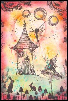 Handmade mixed media Fairy Card £3.00