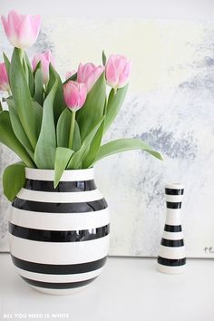 flower vase and tulips