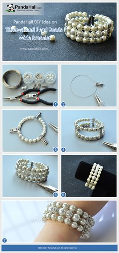 How to Make Three-strand Pearl Beads Wide Bracelet The main materials of the bracelet are pearl beads, rhinestone spacers beads, Tibetan silver spacer beads and polymer clay rhinestone beads. The method is to thread the beads into three strands to form a wide bracelet.