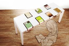 future table, book display, wood and plastic