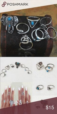 8 piece silver elephant boho ring set new 8 piece silver elephant boho ring set brand new includes all 8 rings Jewelry Rings