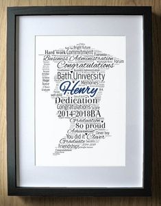 Personalised Graduation Gift for Boys Word Art - Boy - Degree Gift Graduate Graduation Congratulatio