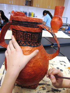 greek vases ...PAPER MACHE OVER BALLOON WITH CARDBOARD LIP AND HANDLE...