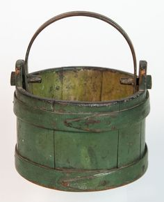 "Lot: Green Hingham pail, ""C.H."", Lot Number: 0114, Starting Bid: $500, Auctioneer: Willis Henry Auctions Inc., Auction: Antiques & Estates Auction, Date: April 16th, 2016 EDT"