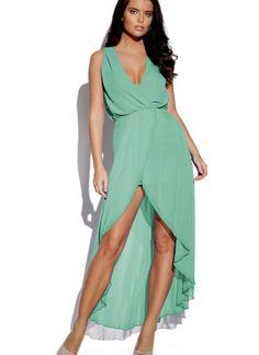 Green Longer Lengths Dress - Dipped Hem Dress   UsTrendy