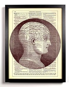 Items similar to Phrenology, Science Diagram, Bookworm Gifts, Steampunk Home Decor, Goth Home Decor on Etsy Steampunk Home Decor, Goth Home Decor, Steampunk House, Science Diagrams, Elephant Wall Art, Love The Earth, Gifts For Bookworms, Animal Silhouette, Dictionary Art