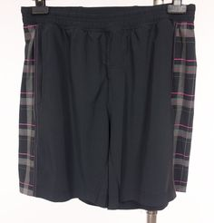 LULULEMON Mens Shorts XL Black Gray Pink Plaid Casual Everyday Run Walk Yoga #Lululemon #Shorts