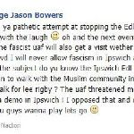 #EDL Ipswich organiser sends threats to admins on Stand against EDL in Ipswich group after getting LMHR event canceled
