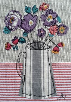 Machine Embroidery Designs Purple flowers in jug - Freestyle machine embroidery by Jo Melrose More - Freehand Machine Embroidery, Hand Embroidery Tutorial, Free Motion Embroidery, Machine Embroidery Patterns, Free Motion Quilting, Embroidery Applique, Embroidery Ideas, Embroidery Thread, Flower Embroidery