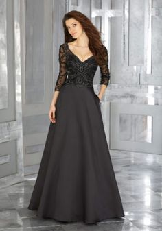 Larissa Satin Special Occasion Dress with Crystal Beaded Bodice | Style 71607 | Morilee
