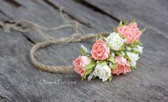 Bridal Flower Crown / Ivory&Peach Rose / от FlowersAccessorie