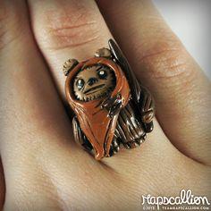 Ewok Polymer Clay Ring.