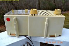 "IVORY Mid Century Retro Vintage Antique Motorola 1957 Model 57CF1 Clock Radio Tube AM Clock Radio Totally Restored! DIMENSIONS: Approximately 12"" x 4.5"" x 5"" (l"