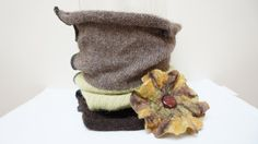 Cowl brown green wool knit knitted Infinity Loop Shawl by feltinga, $30.00