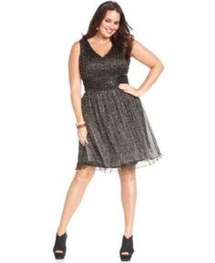 Jessica Simpson Plus Size Dress, Sleeveless Metallic