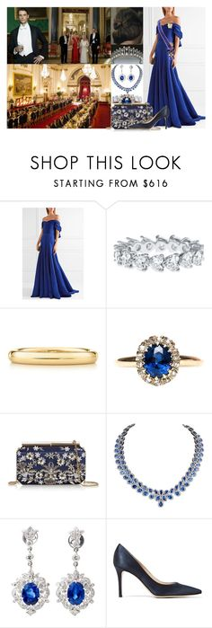 """Attending a State Banquet for King Felipe VI and Queen Letizia of Spain at Buckingham Palace"" by lady-maud ❤ liked on Polyvore featuring Marchesa, Elsa Peretti, Oscar de la Renta and Gianvito Rossi"