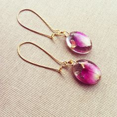 Real Pink Rose Petal and Gold Foil Resin by lowelowejewelry, $18.00