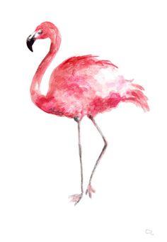 Flamingo watercolor painting Flamingo art Pink flamingo