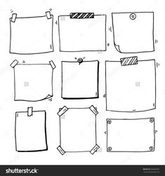 Hand Drawn Doodle Notepaper For Messages Set Stock Vector Illustration 355669787 : Shutterstock Bullet Journal Ideas Pages, Bullet Journal Inspiration, Doodle Drawings, Doodle Art, Banners, Doodle Frames, Doodles, Sketch Notes, Note Paper