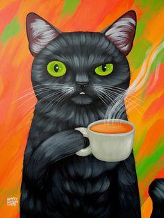 CAT AND COFFEE Art Print