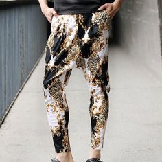 $18.75 Fashion Straight Leg Hit Color Leopard Print Slimming Cotton Harem Pants For Men