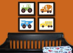 Trucks, cars, tractor, boy, nursery art, nursery print, baby nursery, kids art print, nursery decor, 8x10 print, set of four prints on Etsy, $52.00