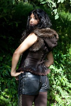Distressed brown leather biker vest leather by EnchantedClothing