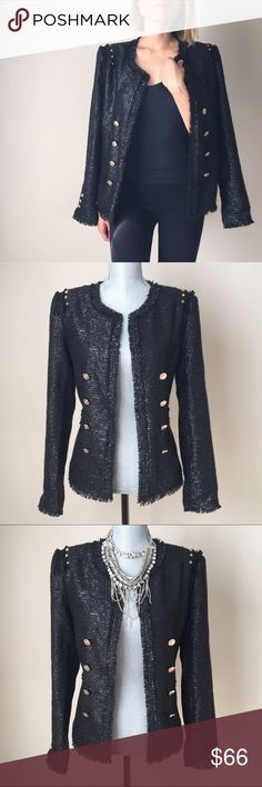 """Contemporary modern tweed jacket Tweed jacket with studded shoulder trim . Fully lined jacket. High style; perfect new version of the iconic topper. Try it with a simple tee and jeans for chic high-low look. 100 %poly blend. Size S fit Size S and M. And size M fit M and L. Size S bust:19"""" W:18"""" L:25"""". Size M: bust 20.5"""" W 19"""" Length :25"""". While stock last! CHICBOMB Jackets & Coats Blazers"""