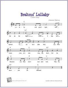 Brahms' Lullaby | Free Sheet Music for Guitar (Lead Sheet) - http://www.makingmusicfun.net/htm/f_printit_free_printable_sheet_music/brahms_lullaby_leadsheet.htm