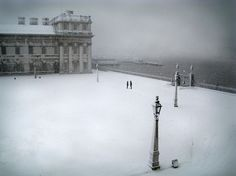 What a snapshot of serenity. Greenwich Naval College, London covered in snow. I've been here (just in July)!