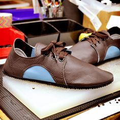Design-Your-Own Shoe of the Week: Dash RunAmocs in Chocolate and Sky Blue! Handcrafted in Oregon by Soft Star Shoes.
