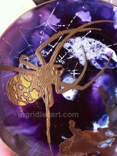 Orb spider on porcelain, Ingrid Lee