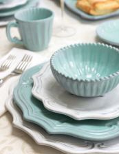 I BOUGHT THESE TODAY!!! Isn't it nice to live in Italy where you can buy tiffany's and william sonoma ceramics for less than half of what you'd payin the states!!!! I have to go back and get the white plates, I got the teal colored ones... I LOVE them!!!!