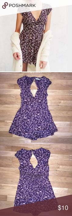 purple floral romper tie back Kimchi Blue purchased on poshmark and ended up being too small ! open to offers ! the second button on back is broken Urban Outfitters Pants Jumpsuits & Rompers